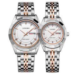 Sale 22% (15.99$) - LONGBO 80164 Couple Watch Alloy Case Women Men Lovers Fashion Casual Quartz Wrist Watch