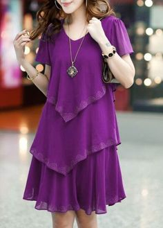 V Neck Purple Short Sleeve Tiered Dress on sale only US$30.16 now, buy cheap V Neck Purple Short Sleeve Tiered Dress at lulugal.com