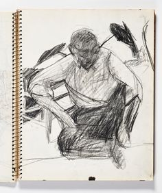 Diebenkorn, Crayon on paper, Page 043 from Sketchbook # 20 [seated clothed male figure]