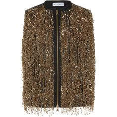 Dice Kayek Sleeveless Metallic Top (€1.050) ❤ liked on Polyvore featuring tops, outerwear, brown sleeveless top, dice kayek, sequin embellished top, crew neck tops and sequined tops