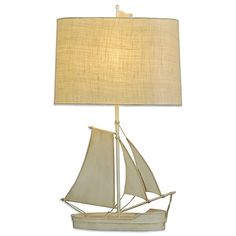 79.99-Add the perfect touch of nautical charm to your decor with the Coastal Sailboat Table Lamp. Featuring an exquisitely crafted sailboat design, this accent piece is topped by an oval drum shade that diffuses the light for a soft, warm glow.