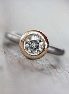 Engagement Ring Moissanite Forever Brilliant Palladium Gold