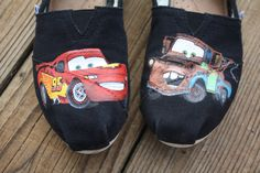 Cars Lightning McQueen and Mater Original Custom Acrylic Painting for Toms Shoes. $100.00, via Etsy.