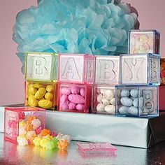Fill-able Baby Block Blocks Baby Shower Favor Pink Blue Clear