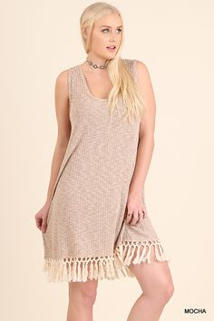 Umgee-WR7141 Sleeveless tank dress or tunic with fringe available at Trees n Trends