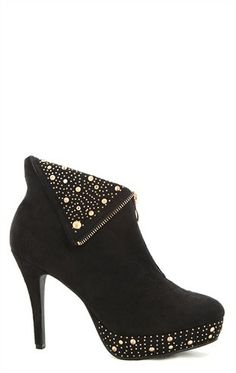 Deb Shops Wide Width High Heel Booties with Zipper and Studded Cuff $37.42
