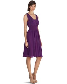 White House Black Market: Genius Convertible dress - as an option for bridesmaids? Comes in this purple, lilac, mint, and silver, and in a long length
