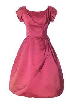 1950's Kay Selig Raspberry Pink Satin Vintage Dress