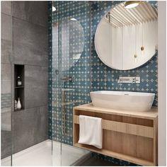 Baño con azulejo vintage azul cobalto