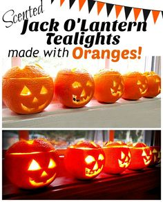 How to make scented tea lights with oranges. An easy DIY for Halloween.