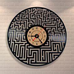 Vintage wall clock vinyl record art labyrinth decor by Vinylastico