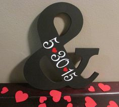 "Wooden Ampersand Sign with Date, Black Wood ""And"" sign w/ Date, Black with Hearts Wedding Photo Prop, Save the Date Sign, Wedding Ampersand"