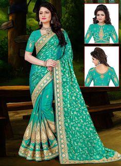 Shop Online Green Jacquard Silk #HalfAndHalfSaree @chennaistore