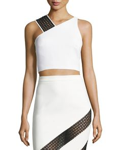 Shop for Crocheted Lace-Strap Crop Top, White/Black by David Koma at ShopStyle. Skirt Outfits, Sexy Outfits, Skirt Fashion, Fashion Dresses, Short One Piece, Crocheted Lace, Minimal Outfit, Night Out Outfit, David Koma