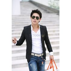 High Quality One Button Notch Lapel Fashionable British Style Black... via Polyvore