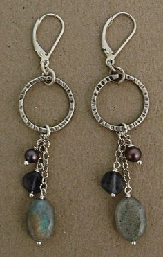 Etched oxidized sterling circle with labradorite purple pearl and iolite drop earring round coin oval...different lengths...hmmm