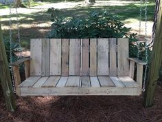 porch swings wooden custom made | DIY Pallet Outdoor Two-seated Swing | 101 Pallets