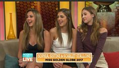 Miss Golden Globe 2017 trio Sophia, Sistine and Scarlet Stallone join Access Hollywood Live's Kit Hoover and guest co-host Carrie Ann Inaba and share what th. Sophia Stallone, Sylvester Stallone Daughters, Carrie Ann Inaba, Access Hollywood, Boys Home, Yellow Dress, Dress Red, Precious Children, Golden Globes
