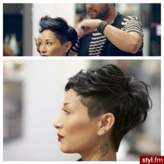 Love the profile/silhouette, longer nape, textured crown, bangs,....would prefer…