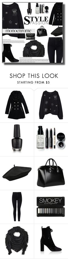 """All Black Everything"" by crochetragrug ❤ liked on Polyvore featuring Wilsons Leather, MANGO, Bobbi Brown Cosmetics, M&Co, Givenchy, J Brand, Echo and Yves Saint Laurent"