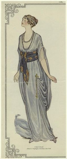 "Blue gown, 1913.  Text reads: ""First prize, Ethel H. Traphagen, Brooklyn, New York."""