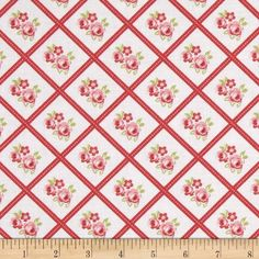 Lulu Roses Libby Red from @fabricdotcom  Designed by Tanya Whelan for Free Spirit, this cotton print is perfect for quilting, apparel and home decor accents.  Colors include white, green, red and shades of pink.