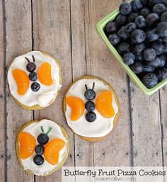 "Make these butterfly fruit pizza cookies quick and easy by taking a little help from the store, for a great ""semi-homemade"" treat."