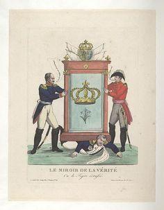 1815:Bodleian Libraries, Le miroir de la vérité ou- le tigre écrassé.French political cartoon; References: De Vinck, No. 9670.