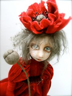 Poppy Cloth Art Doll  OOAK  Handmade   art doll   soft by JRlele, $150.00