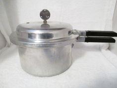 Vintage Mirro Matic Pressure Cooker 4qt Aluminum Pot Insert Tray Jiggler # 394M.