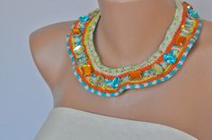 NEW COLLECTION Hand Crocheted White Bib Necklace by kirevi on Etsy, $68.00