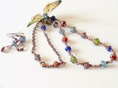 Copper and Lampwork  Wire Wrapped Necklace 2 Piece by simplysuzie2, $25.00