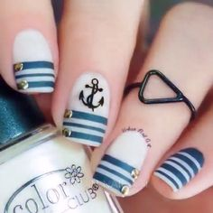 Wrapping Paper Stencils for Nails, Candy Cane, Christmas Nail Stickers, Nail Art, Nail Vinyls - Medium Stencils) : Beauty Anchor Nail Art, Nautical Nail Art, Nautical Design, Anchor Nail Designs, Navy Nail Art, Nautical Stripes, Blue Stripes, Cute Nail Art, Cute Nails