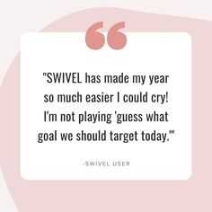 Guessing games are fun, but not when it comes to goal rotation! 🙅⁣⁣We love hearing feedback like this from Swivel users!⁣⁣Ready to makeover your goal management in 2021?? ⁣