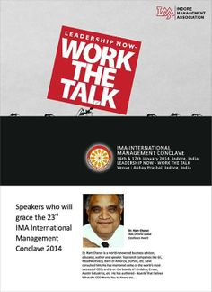"And, the ""Wait Ends Here"".....  Global Thought Leaders - Visionary Thoughts - Innumerous Conversations - Untold Stories & YOU.....  Time to block your diaries for the ""Most Awaited & Most Coveted""- Largest Management Event of India ""IMA's Golden Jubilee Year's 23rd International Management Conclave 2014"" !!"