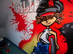 kids room, design,ideas, graffiti,red, hand painted wall Hand Painted Walls, Graffiti, Disney Characters, Fictional Characters, Kids Room, Projects To Try, Design Ideas, Children, Red