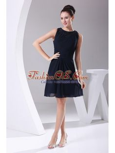 Simple Navy Blue Chiffon Knee-length Beading Decorate Scoop 2013 Prom Dress- $98.16  http://www.fashionos.com  | 2013 2015 short prom cocktail gown | elegant prom homecoming dress custom made | sale short prom dresses | emily maitlis dress | shopping in dress shop | prom dresses on sale |
