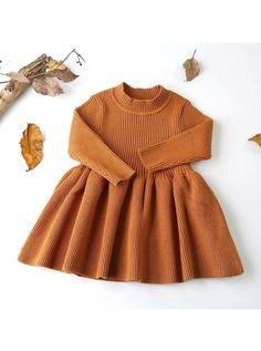 Girls Knitted Dress, Girls Sweater Dress, Knit Sweater Dress, Baby Girl Sweaters, Toddler Sweater Dress, Knitted Baby Outfits, Baby Girl Fashion, Toddler Fashion, Kids Fashion