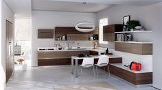 Italian kitchen design for small space modern kitchen design view in Brown Kitchen Designs, Modern Kitchen Design, Brown Kitchens, Home Kitchens, Modern Kitchens, Small Kitchens, Apartment Inspiration, Scavolini Kitchens, Handleless Kitchen