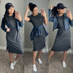 dresses modest Leap Of Faith Dress - Charcoal Source by outfits mezclilla Modest Casual Outfits, Casual Summer Dresses, Modest Dresses, Modest Fashion, Cute Outfits, Fashion Outfits, Apostolic Fashion, Casual Church Outfits, Church Dresses