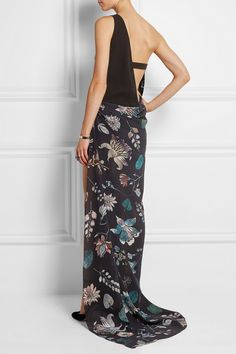 VERSUS One-shoulder printed silk-chiffon and crepe maxi dress €795.00