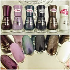essence colour&go nail polish swatches - 193 best dressed, 194 little lila town, 195 you wow´d me again, 196 i <3 my blue jeans (suede) , 19...