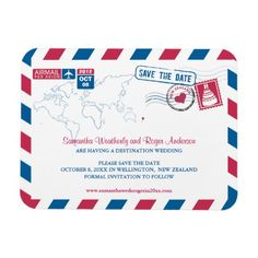 New Zealand Air Mail Wedding Save the Date 3x4 Magnets