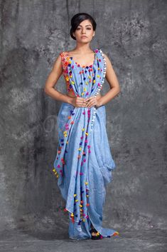 Power Blue Linen Saree With Pompom Decoration - Roopkatha - A Story of Art