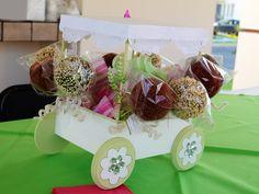 Carreta de color blanco y verde, con manzanas cubiertas de chocolate y de tamarindo.