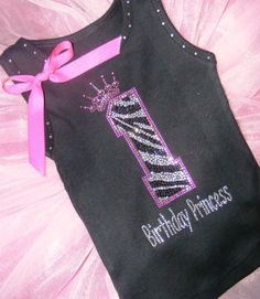 1 DIY 1st 2nd Birthday Princess Hot pink Zebra Rhinestone Iron On hot fix Transfer : for DIY projects, shirts, totes, signs, ETC