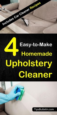 How to clean your sofa, couch or car seat upholstery with a natural homemade DIY cleaner.Includes recipes on how to make a water or rubbing alcohol based cleaning solution to remove even pet stains from furniture, chairs or other fabric-microfiber furniture.#sofacleaning #carcleaning #cleaner #diy