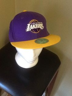 Los Angeles Lakers Purple Yellow Flat Bill Hat  NBA Cap  Basketball Fitted  S  463f0200bca3