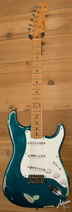 Here's a rarity: a 1956 custom color Stratocaster in Sherwood Green. Fender Stratocaster, Fender Guitar Amps, Fender Vintage, Vintage Guitars, Guitar Collection, Guitar Building, Beautiful Guitars, Guitar Pedals, Bass