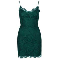 Women's Topshop Lace Body-Con Slipdress ($64) ❤ liked on Polyvore featuring dresses, short dresses, vestidos, lace slip dress, green mini dress, lace cocktail dress and short lace cocktail dress